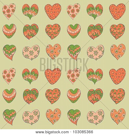 colorful valentines hearts seamless pattern.