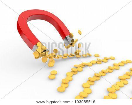 3d magnet attracting golden coins
