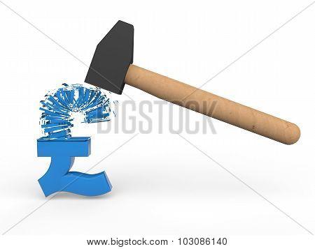 3d hammer breaking pound symbol
