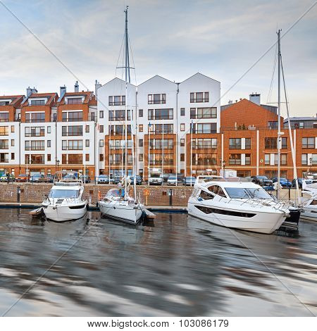 Luxury yachts in harbour of Gdansk, Poland
