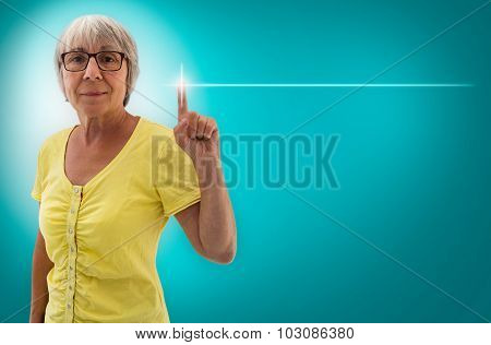 Empty Template Touchscreen Is Shown By Senior Woman Concept