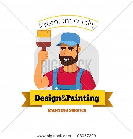 Smiling painter is holding brush. Painting service - vector logo badge concept.