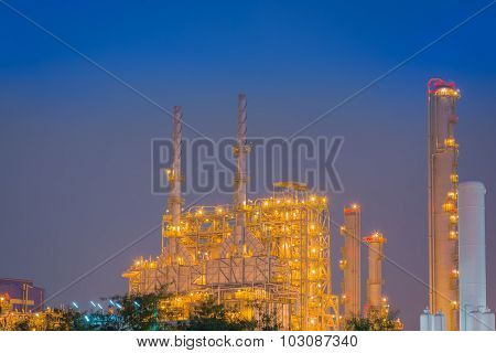 After Sunset And Duration Twilight Of The Chemical Plant.