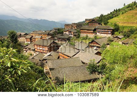 Traditional chinese village wooden houses