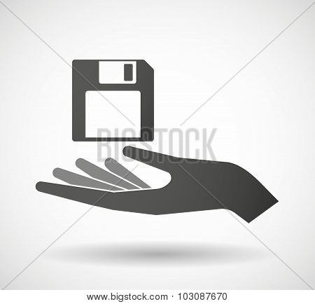 Isolated Hand Giving A Floppy Disk