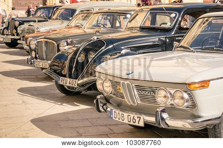 Mdina, Malta - October 10, 2014: Vintage Classic Retro Cars Parked In San Pawl Square