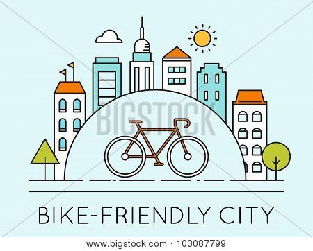 Outline Illustration of Modern City and Touring Bike. Bike-Friendly City Sign. Traveling by Bicycle