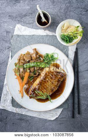 Salmon Teriyaki on Plate