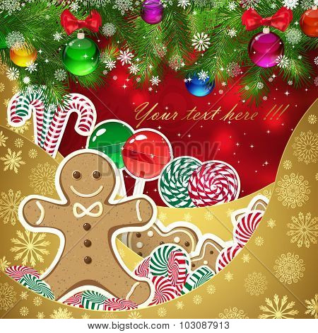 Gingerbread man on the background of sweets, decorated Christmas balls branches. Red background and gold layers, decorated with snowflake patterns. Christmas card.