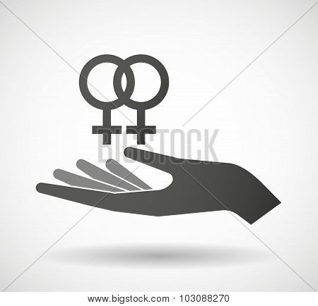 Isolated Hand Giving A Lesbian Sign