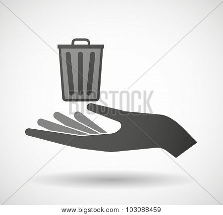 Isolated Hand Giving A Trash Can