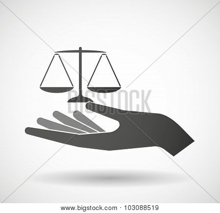 Isolated Hand Giving A Justice Weight Scale Sign