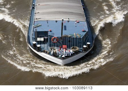 Bow wave of a barge