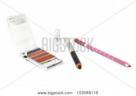 Make Up With Brush And Cosmetic Pencil Isolate On White Background
