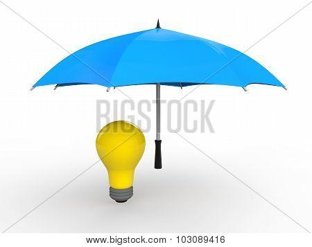 3d umbrella protecting idea bulb