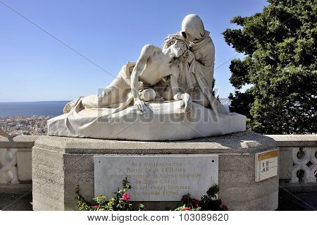 Statue In Front Of The Basilica Of Notre Dame De La Garde