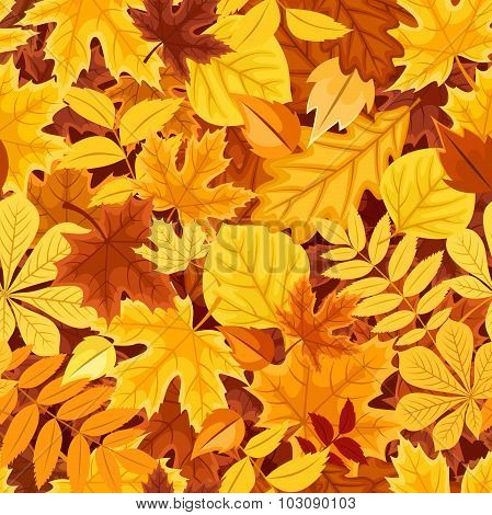 Seamless pattern with autumn colorful leaves. Vector illustration.