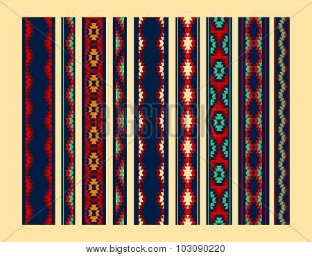 Colorful red yellow blue aztec ornaments geometric ethnic seamless borders set, vector