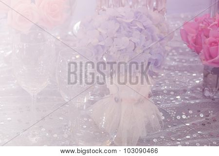 Wine Glass, Bunch Of Purple Hydrangea, Orange And Pink Rose, Crystal Ornament With Soft Focus And Co