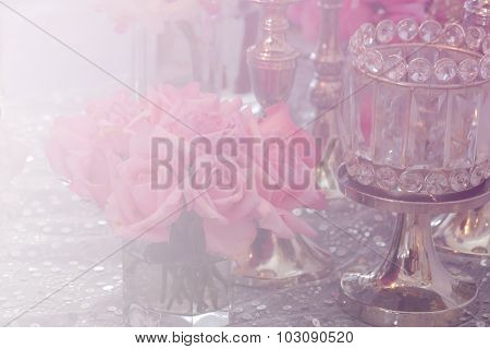Bunch Of Pink Rose, Candlestick And Crystal Ornament With Soft Focus And Color Filter