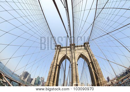 Brooklyn Bridge In Fisheye Lens, Nyc, Usa.