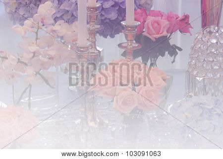 Wine Glass, Candlestick, Bunch Of Purple Hydrangea, Orange And Pink Rose And Crystal Ornament With S