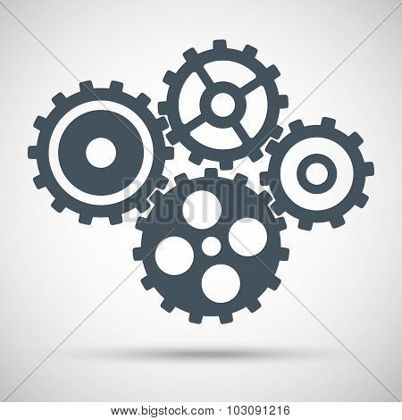 toothed gears is meshed on gray background. vector illustration eps10
