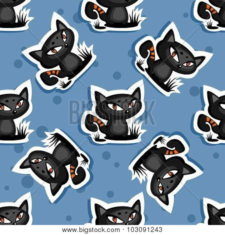 black cats seamless background