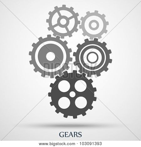 gray toothed gears ( cogs ) is meshed on gray background. vector illustration eps10
