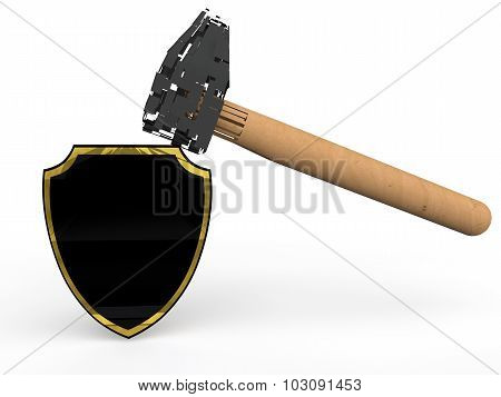3d strong shield and hammer