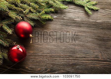 Christmas Tree and decorations on wooden background space for lettering