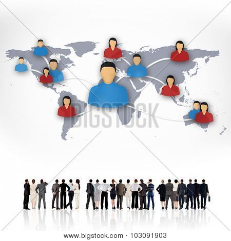Rear view of multiethnic business people standing side by side against view of communication network