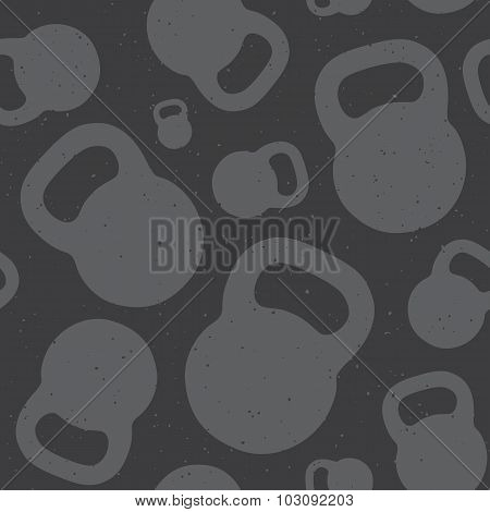 Kettlebell seamless vector pattern grey