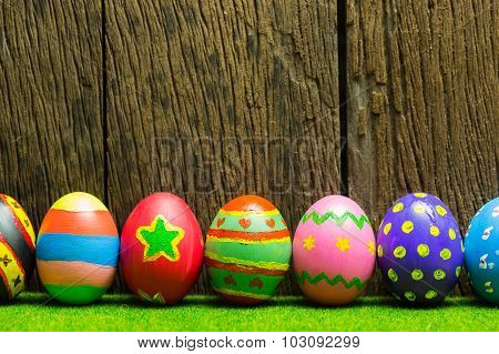 Easter Eggs With Wood Background