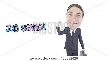 Geeky businessman waving against job search