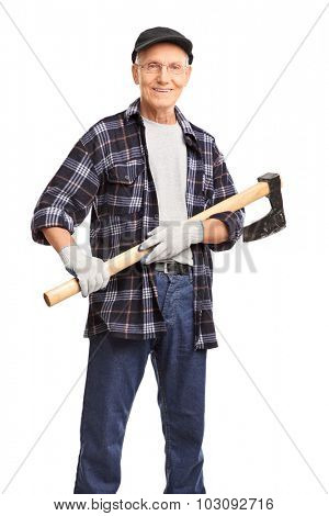 Vertical shot of a senior gentleman holding an axe and looking at the camera isolated on white background