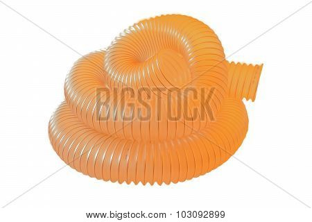 Flexible Pipe ,corrugated Polyurethane Pipe Isolated On White Background.