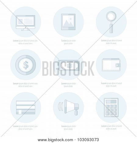 Set Of Flat Design Icons White Color Style