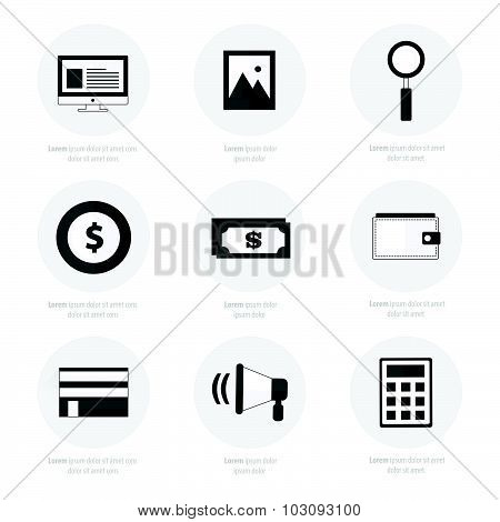 Set Of Flat Design Icons Black Color Styles