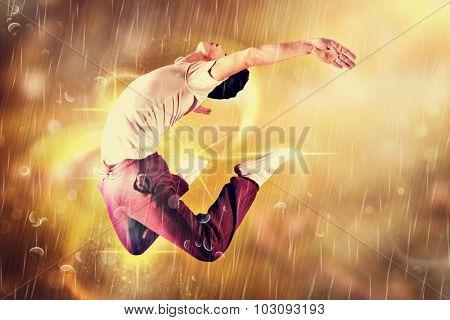 Cool break dancer against autumn scene