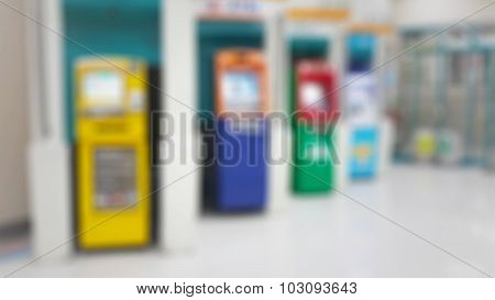 Cashpoint With Colorful Bankomats In Blur Background (atm)