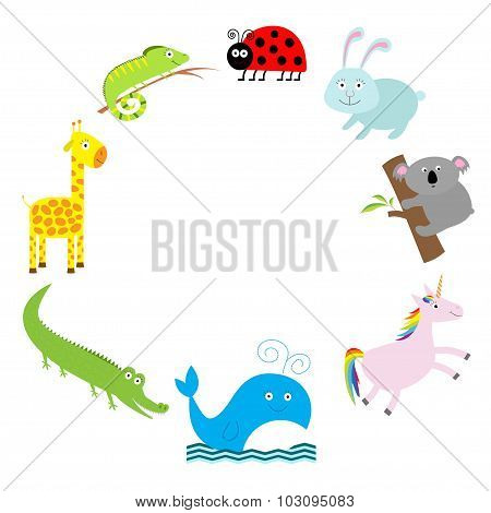Cute Animal Frame. Baby Background. Ladybug, Koala, Whale, Rabbit, Unicorn, Alligator, Giraffe And I