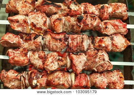 Barbecue roasted meat kebab hot grill, good snack outdoor picnic