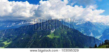 Panoramic View On Switzerland Mountain Landscape, Swiss alp, Switzerland