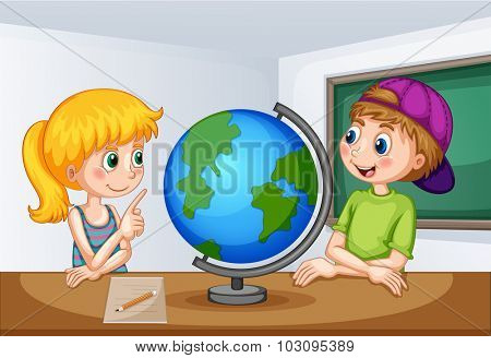 Boy and girl studying geography illustration