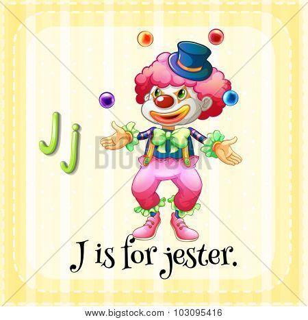 Flashcard letter J is for jester illustration
