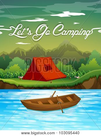 Camping ground with tent and boat illustration