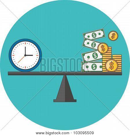 Time Is Money Concept. Flat Design.