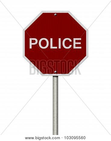 Stop Police Road Sign