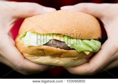 Woman Hand Hold Hamburger